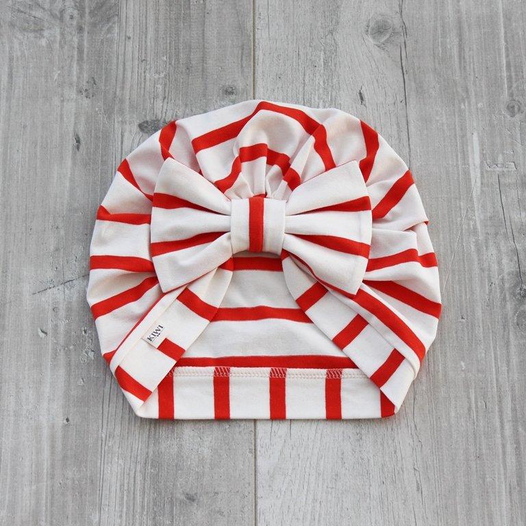 Svītraina turbāncepure (balta ar sarkanām svītrām)