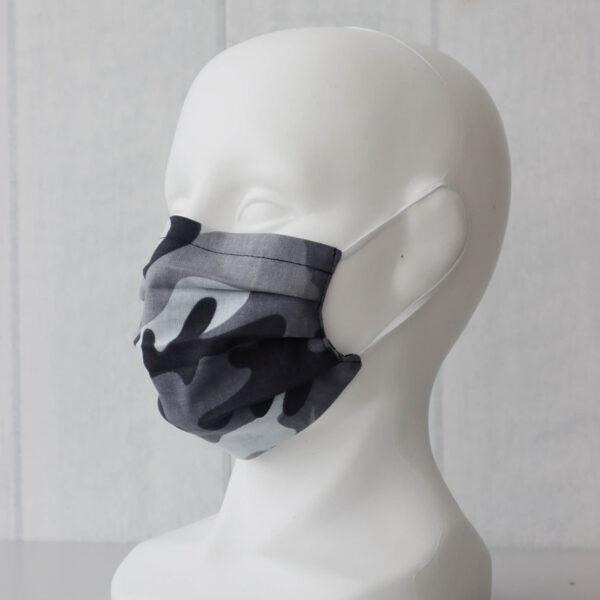 Pelēkā kamuflāža- pieaugušo un bērnu sejas maskas